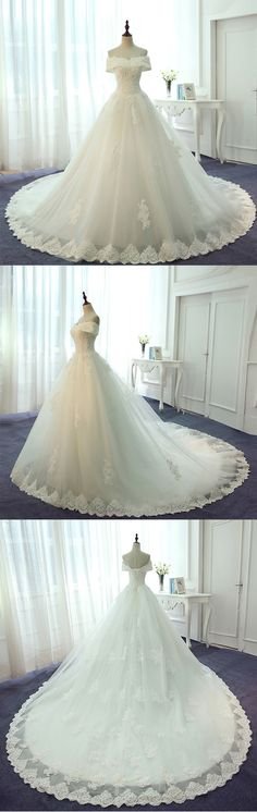 Off the Shoulder Lace Up Back Charming Lace Bridal Long Wedding Dresses, PM0634