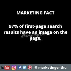 This marketing fact will help you to understand the importance of images and visual content.  97% of first-page search results have an image on the page.  #marketingenthu #marketingenthufacts #marketing #seo #searchresult #contentmarketer #contentmarketing #firstpage #visuals #visualcontent #contentmarketingtips #image #pagerank #searchengineoptimization First Page, Search Engine Optimization, Content Marketing, Seo, Acting, Facts, Image, Inbound Marketing