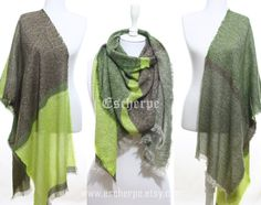 Neon Yellow Green Tweed Cozy Warm Winter Scarf Winter Accessory Women Men Fashion Accessories Man Scarf Christmas Gifts Ideas For Her Him