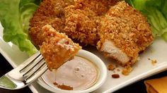 Paleo Macadamia-Crusted Chicken<br>with Honey-Mustard Sauce Recipe
