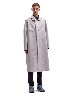 Lanvin Men's Oversized Long Raw Edge Technical Coat | LN-CC