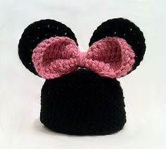 crochet crochet minnie mouse hat preemie to child sizes available!!