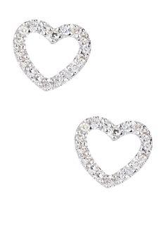 14K White Gold Diamond Heart Earrings - 0.11 ctw