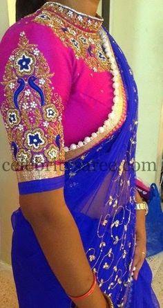 Pink High Neck Blouse by Mugdha | Saree Blouse Patterns