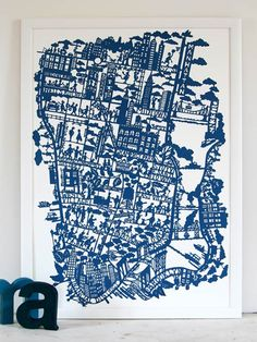 This print is based on an original Famille Summerbelle hand paper cut of New York. Inspiration comes from our own fond experiences, some great old photos and illustrations, and more than a little help from Woody Allen's movies! New York City Map, City Maps, Ny Map, Kids Artwork, Modern Artwork, Carte New York, Ville New York, Litho Print, Globes