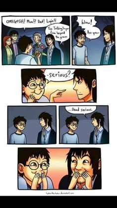 The moment Sirius Black realised Harry was his godchild truly. Harry Potter Comics, Harry Potter Puns, Harry Potter Universal, Fanart Harry Potter, Harry Potter Drawings, Harry Potter Ships, Sirius Black, Voldemort, Hogwarts