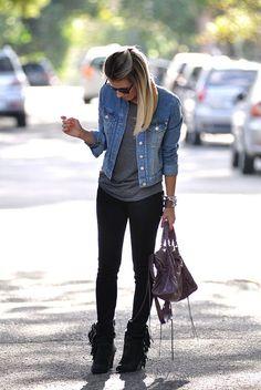 Denim jacket, gray tee, black skinnies and boots
