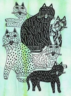 Cat T-shirt by Norfolk Oak, via Flickr. Great idea for a styrofoam print lesson
