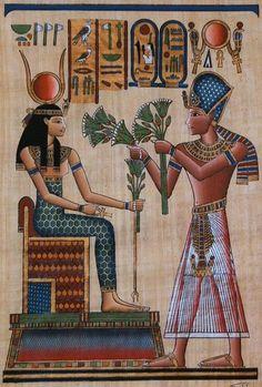 Egyptian Goddess Hathor and Pharaoh Ramses II Lolo Egyptian Mythology, Egyptian Goddess, Egyptian Art, Ancient Egypt History, Ancient Egypt Fashion, Ancient Egypt Pharaohs, Ancient Aliens, Ancient Greece, Ancient Civilizations