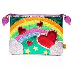 Some where over the rainbow is a gorgeous IC pouch. Encase your precious things in this glittering, multi applique fantasy. Zip up pouch Glitter rainbow upper Applique Dimensions approximately: Irregular Choice Shoes, Daisy Mae, Pouch, Wallet, New Handbags, Beautiful Handbags, Over The Rainbow, Cute Bags, Bag Accessories