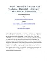 When Children Fail in School: What Teachers and Parents Need to Know about Learned Helplessness