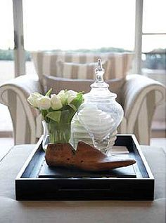 Coffee Table Ottoman Decorating Ideas... Tray styling.