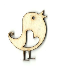 Bird with Heart Unfinished Laser Cut Wood Shape VAL4