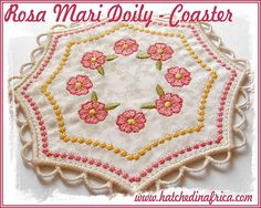 1 , & Doily design *Please Note: The HUS format only includes designs for this set due to size limitations of the hoop. Doilies, Pot Holders, Embroidery Designs, Coasters, Applique, Africa, Detail, How To Make, Gifts