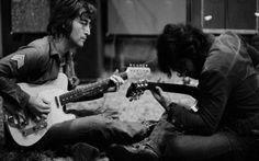 John Lennon and George Harrison recording 'Imagine', 1971.
