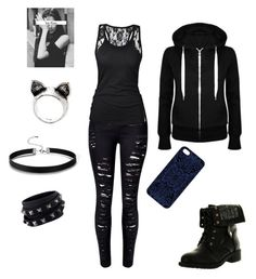 """Depressed teen"" by aribella-lucker ❤ liked on Polyvore featuring WithChic, Refresh, Samantha Warren London and Valentino"