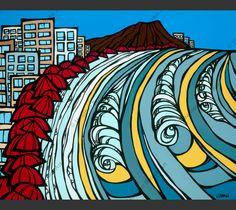 """""""Waikiki Coastline"""" by Heather Brown    www.HeatherBrownArt.com"""