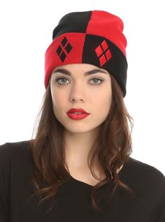 Knit watchman beanie with allover Harley Quinn design.