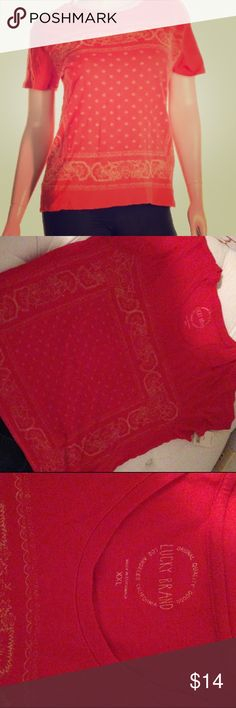 Womens lucky brand bandana print tshirt Womens lucky brand red bandana print tshirt. Brand new with tags. Super soft material. Lucky Brand Tops Tees - Short Sleeve