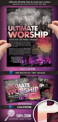 """Ultimate Worship Combo #GraphicRiver Advertise your next church event with style! Get this """"Ultimate Worship"""" flyer and postcard"""