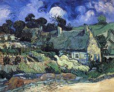 Thatched Cottages at Cordeville by Vincent Van Gogh (Netherlands)