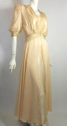 Peach Satin Bias Cut Nightgown & Robe Set circa 1940s