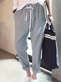 Women Striped Drawstring Waist Harem Pants only US$66.63 / #Free_shipping
