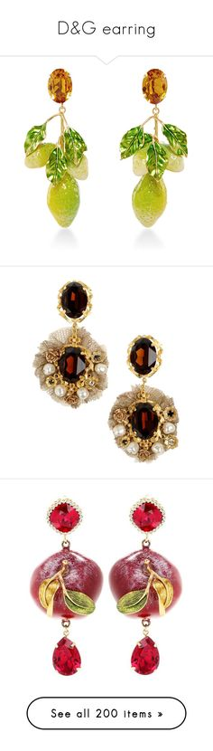 """D&G earring"" by alina-chipchikova ❤ liked on Polyvore featuring jewelry, earrings, lemon earrings, earring jewelry, swarovski crystal earrings, crystal earrings, long crystal earrings, dark brown, lace earrings and earrings jewellery"