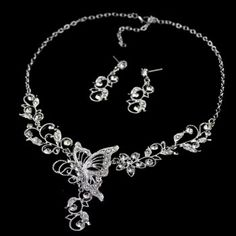 $6.06 Chic Diamante Butterfly Pendant Flower Embellished Necklace and Earrings For Women