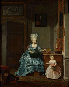 Hermanus Numan | Susanna van Collen née Mogge and her daughter, Hermanus Numan, 1776 | Portret van Suzanna Cornelia Mogge (1753-1806), tweede echtgenote van Hendrik Muilman (1743-1812), met haar dochtertje Johanna Ferdinanda (1774-1833) uit haar huwelijk met Ferdinand van Collen (1741-73). Zittend in een salon, bezig met kantklossen. Haar dochter heeft een mandje met bloemen in de hand. Boven de deur een grisaille, aan de wand een schilderij, op tafel een naaidoos en een pendule.