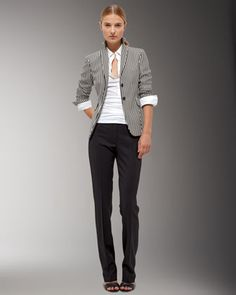 Striped Blazer, Spread-Collar Blouse & Straight-Leg Pants by Akris Punto at Bergdorf Goodman.