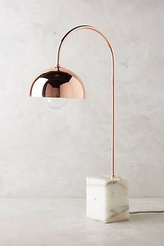 Reading Floor Lamps: Marble and rose gold table lamp Rose Gold Rooms, Rose Gold Decor, Rose Gold Lamp, Gold Bedroom, Bedroom Lamps, Bedroom Lighting, Bedroom Ideas, Bedroom Decor, Rose Gold Marble