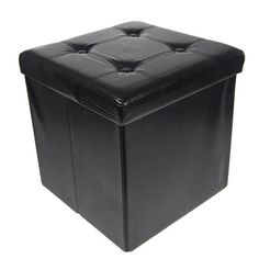 Collapsible, folds flat when not in use Fashioned out of faux leather with tufted top; Perfect for home or office Super sturdy ottoman with storage, holds up to 330lbs in weight