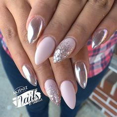 "@nailsbydanielle - Akzentz ""Conceal"" and Akzentz ""Matte On"" top coat - pink gold chrome powder"
