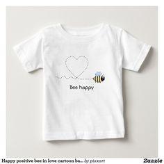 Happy positive bee in love cartoon baby shirt