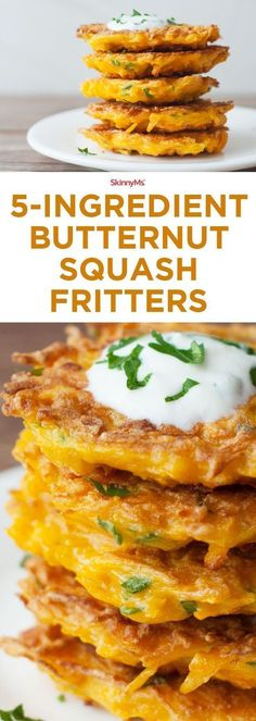 These 5-Ingredient Butternut Squash Fritters are everything you ever wanted in a cozy fall side dish!  #fall #squash #yum Butternut Squash Recipies, Butternut Squash Muffins, Fried Squash Recipes, Easy Squash Recipes, Butternut Squash Pasta, Sage Recipes, Spiralized Butternut Squash, Freeze Spaghetti Squash, Freeze Squash