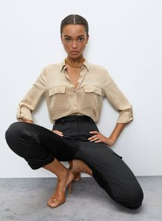 But silk, so not *that* casual. This is a modern button-up with two chest pockets. It's cut from textured, grainy silk that's been sandwashed for a sueded look. Business Casual Outfits, Modern Outfits, Classy Outfits, Chic Outfits, Fashion Outfits, Bar Outfits, Womens Fashion, Black Button Up Shirt, Button Up Shirts