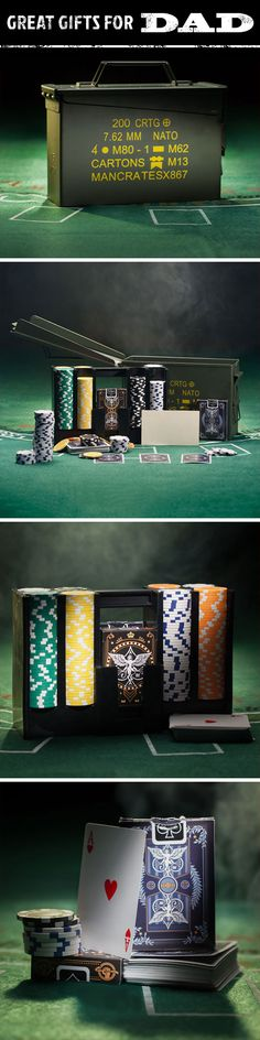 Is your Dad a riverboat gambler at heart? Give him the gear to claim chips and victims anywhere with the Ammo Can Poker Set, the toughest, most functional 300 chip poker set on the planet. This 11.5 gram chip set features custom artwork and efficiently top-loads into a practically indestructible NATO-spec .30 cal military ammo can. Give your dad the gift that will keep the cards stacked and the chips rolling in no matter where he goes.