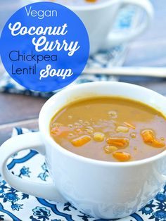 This Crockpot Vegan Coconut Curry Chickpea Lentil Soup is the easiest soup to make (10 minutes prep time-tops!) and is full of flavor! Only 228 calories per serving with 12 grams of protein! #vegan #recipe #crockpot