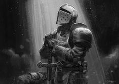 Crusader, Darkest Dungeon by mantisslash Dark Fantasy Art, Fantasy Armor, Knight Drawing, Knight Art, Medieval Knight, Medieval Fantasy, Medieval Tattoo, Crusader Knight, Christian Warrior
