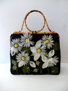 Retro Rainbow // Black + White    Alix's gorgeous floral purse