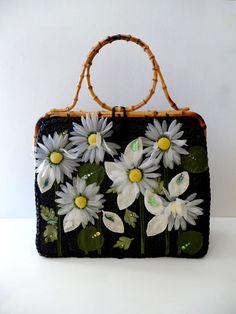 Retro Rainbow // Black + White    Alix's gorgeous floral purse