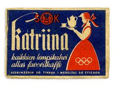 Katriina-kahvi, tulitikut - 1952 Old Advertisements, Advertising, Old Commercials, Old Ads, My Heritage, Old Pictures, My Childhood, Vintage Posters, Finland