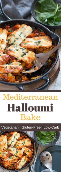 This healthy Mediterranean halloumi bake makes an extremely delicious vegetarian dinner. It perfectly combines fresh vegetables with the salty flavour and chewy texture of the halloumi cheese. Veggie Dishes, Veggie Recipes, Cooking Recipes, Healthy Recipes, Halumi Cheese Recipes, Baked Vegetables, Fresh Vegetables, Veggies, Dining