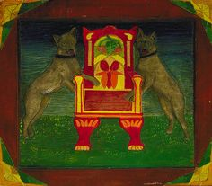 Emblematic Panel with Two dogs and Throne, 20th century, carved and painted wood,15 7/8 x 18 1/8 x 7/8 in. (40.3 x 46.1 x 2.3 cm.), Smithsonian American Art Museum, Gift of Herbert Waide Hemphill, Jr. and museum purchase made possible by Ralph Cross Johnson,1986.65.286