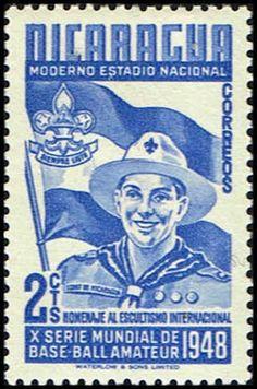 Nicaragua 718 Stamp  Boy Scout, Badge & Flag Stamp