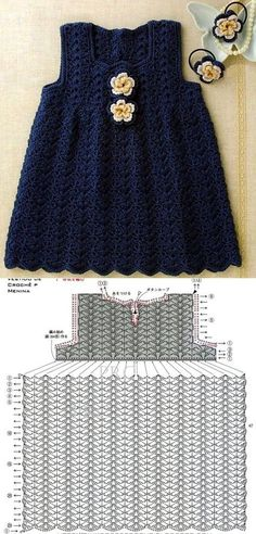 Baby Dress Crochet of Leticia: 10 Children crochet dresses with graphic Crochet Baby Dress Pattern, Baby Girl Crochet, Crochet Baby Clothes, Crochet For Kids, Knit Crochet, Crochet Dresses, Baby Girl Patterns, Baby Girl Dresses, Baby Girls