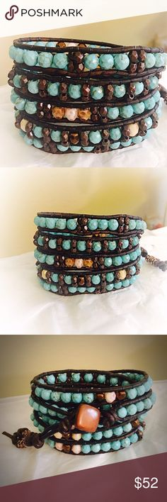 Turquoise and Czech Glass Leather Wrap Bracelet Gorgeous, rustic 5 wrap leather bracelet made with blue 6mm turquoise, ivory gold washed/brown Czech Glads beads and copper accents. All my leather wraps are designed by me hand made. Here on Posh, I sell them at the lowest possible price, so all prices are FIRM!!! Jewelry Bracelets
