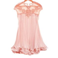 Sweet Round Neck Beaded Organza Splicing Short Sleeve Women's Chiffon Dress, PINK, ONE SIZE in Summer Dresses | DressLily.com