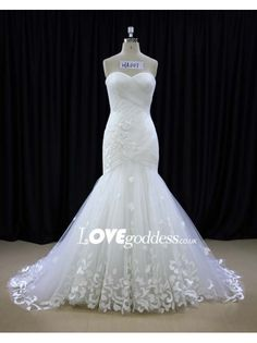 Tulle Sweetheart Pleated Mermaid Wedding Dress With Appliques - Wedding Dresses - Lovegoddess
